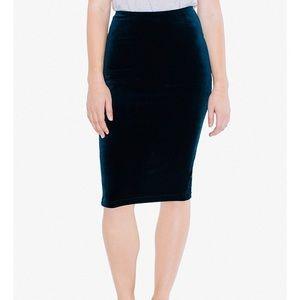 American Apparel Blue Nile Velvet Pencil Skirt